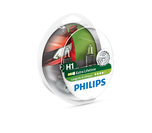 PHILIPS H1 koplampset LongLife EcoVision (12258LLECOS2)