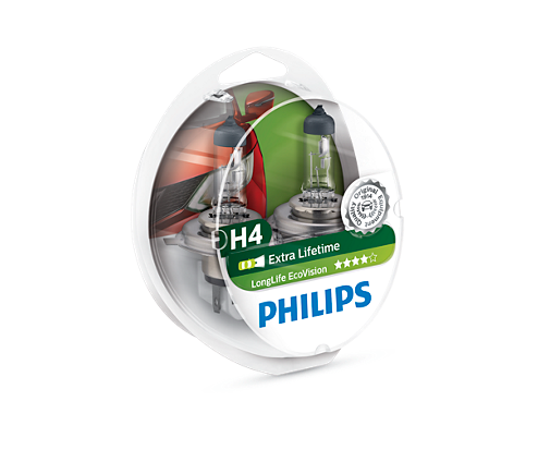 PHILIPS H4 koplampset LongLife EcoVision (12342LLECOS2)