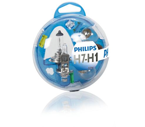 PHILIPS Reservelampset H7 - H1 (55720EBKM)